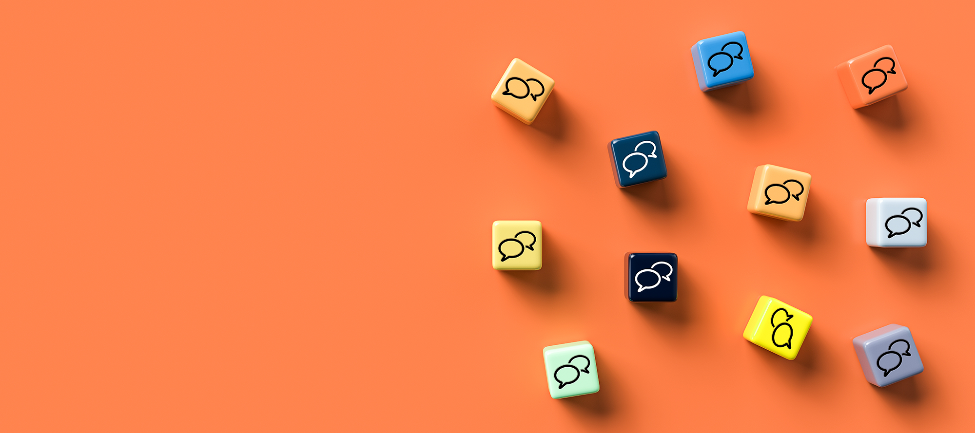 Colourful cubes with speech bubble icons